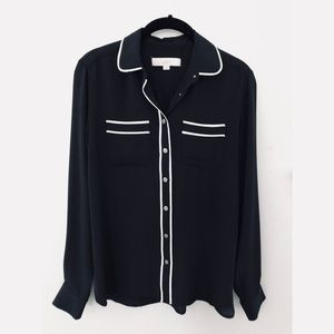 NWOT LOFT Black Buttondown with White Piped Detail
